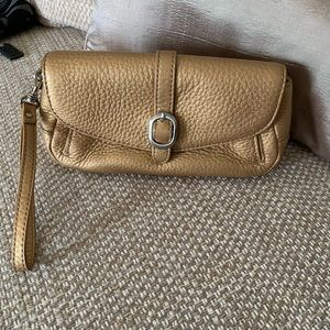 Talbots Gold Genuine Leather wristlet